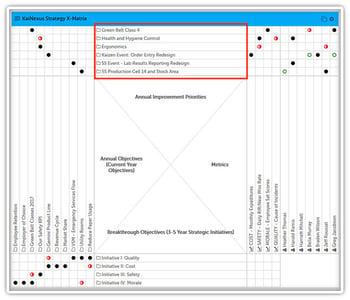 X-matrix-annual improvement opportunities
